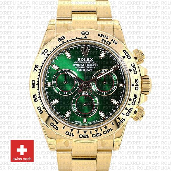 Rolex Daytona 18k Yellow Gold Green Dial Rolex Replica Watch