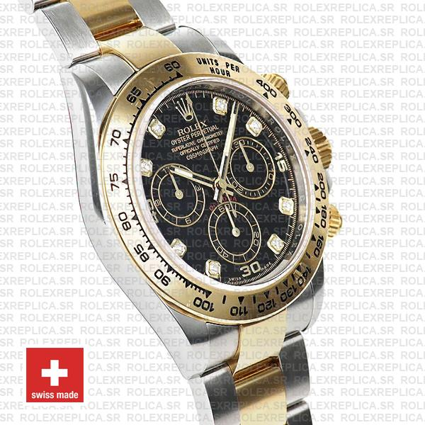 Rolex Daytona Two-Tone Black Diamond Dial Rolex Replica Watch