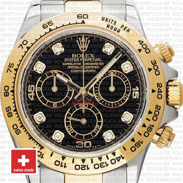 Rolex Cosmograph Daytona 40mm 18k Yellow Gold Two-Tone Black Diamond Dial