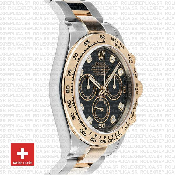 Rolex Cosmograph Daytona 40mm 18k Yellow Gold Two-Tone Black Diamond Dial 904L Stainless Steel