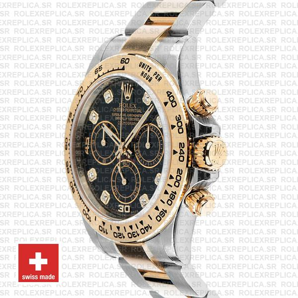 Rolex Cosmograph Daytona 40mm 18k Yellow Gold Two-Tone Black Diamond Dial 904L Stainless Steel Watch