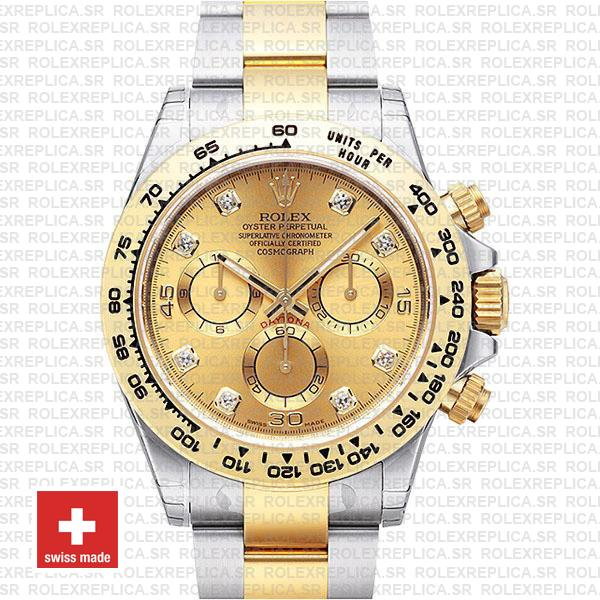 Rolex Daytona Gold Two-Tone Diamond Dial Replica Watch