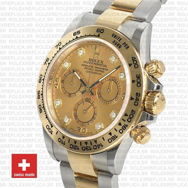 Rolex Daytona Gold Two-Tone Diamond Dial Swiss Replica