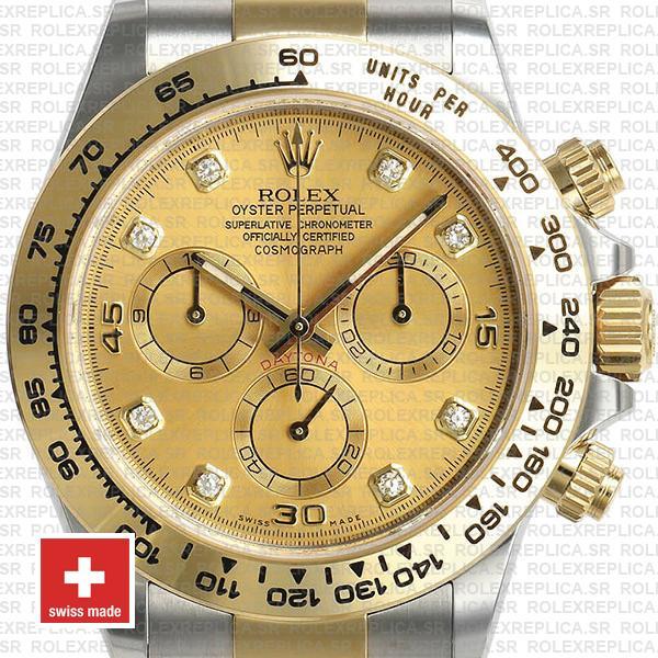 Swiss Replica Rolex Cosmograph Daytona 18k Yellow Gold Two-Tone 904L Stainless Steel Diamond Dial