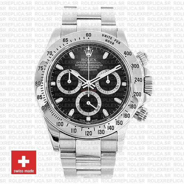 Rolex Daytona 18k White Gold Black Dial Rolex Replica Watch
