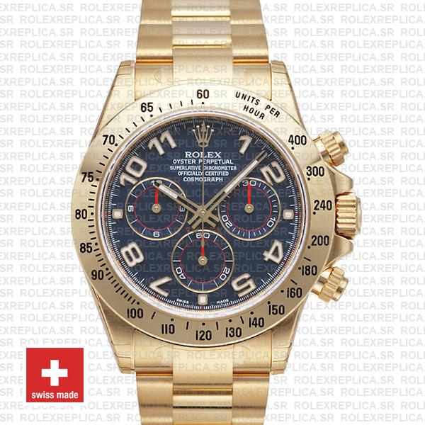 Rolex Daytona Blue Arabic Dial 40mm | 18k Yellow Gold Watch