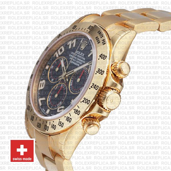 Rolex Daytona Blue Arabic Dial 40mm 18k Yellow Gold Watch