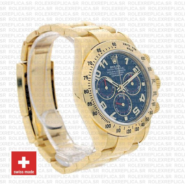Rolex Daytona Blue Arabic Dial 40mm 18k Yellow Gold Replica Watch