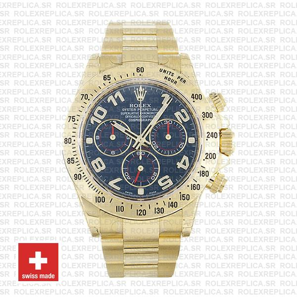 Rolex Cosmograph Daytona 18k Yellow Gold Blue Arabic Dial 40mm Rolex Replica Watch