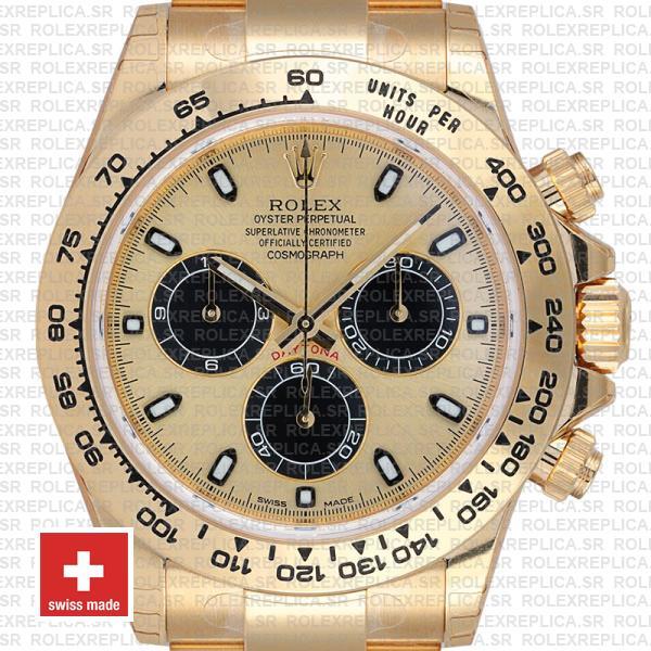 Rolex Daytona Gold Dial 18k Yellow Gold Stainless Steel Replica Watch