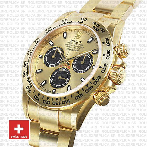 Rolex Daytona Gold 904L Stainless Steel Gold Dial 40mm with Black Subdials