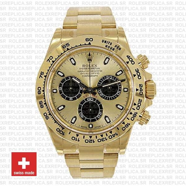 Rolex Daytona Gold 904L Stainless Steel Gold Dial 40mm with Black Subdials Oyster Bracelet