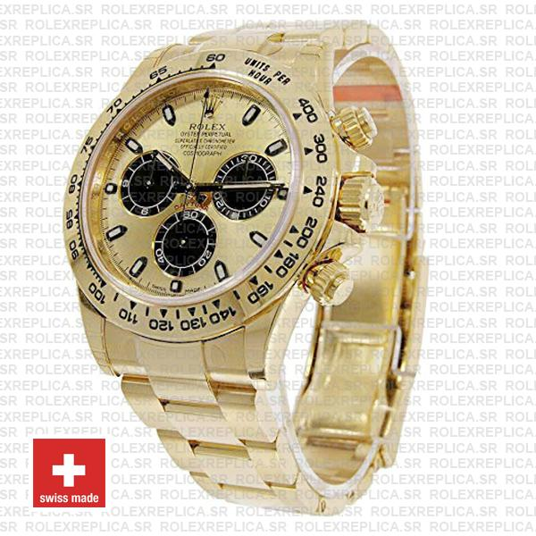 Rolex Daytona Gold 904L Stainless Steel Gold Dial 40mm with Black Subdials Oyster Bracelet Replica