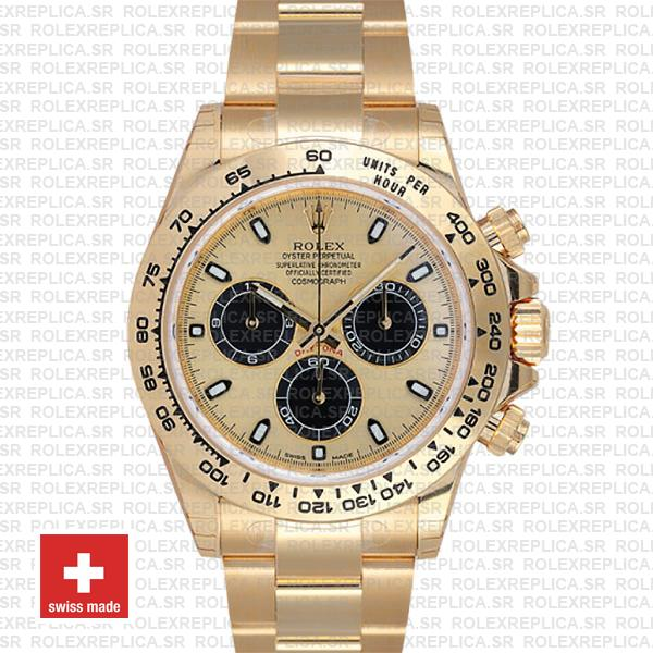 Rolex Daytona Gold 904L Stainless Steel Gold Dial 40mm with Black Subdials Oyster Bracelet Replica Watch