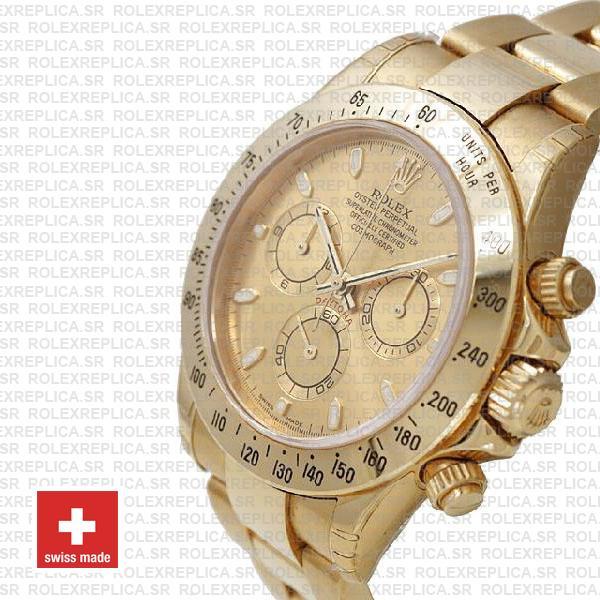 Rolex Daytona Stainless Steel Yellow Gold Dial Swiss Replica Watch