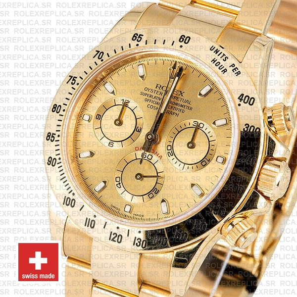Rolex Oyster Perpetual Daytona 18k Yellow Gold, 904L Stainless Steel Gold Dial 40mm