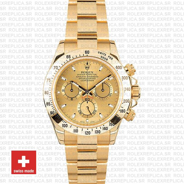 Rolex Oyster Perpetual Daytona 18k Yellow Gold, 904L Stainless Steel Gold Dial 40mm Oyster Bracelet Swiss Replica Watch