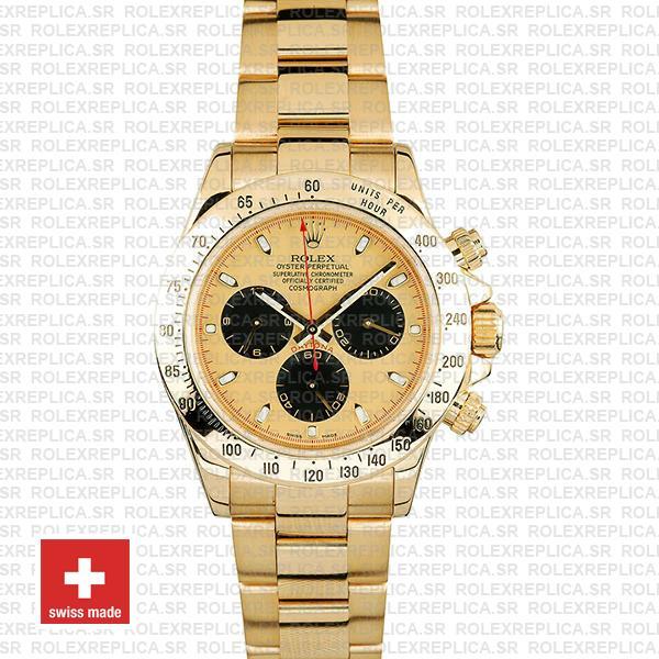 Rolex Daytona Gold Gold Dial Black Subdials Swiss Replica 40mm 116528