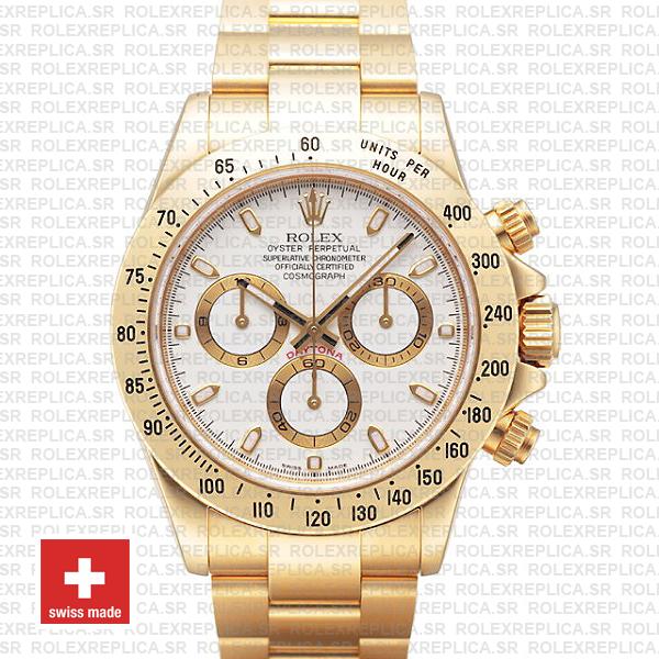 Rolex Daytona 18k Yellow Gold White Dial | Swiss Replica Watch