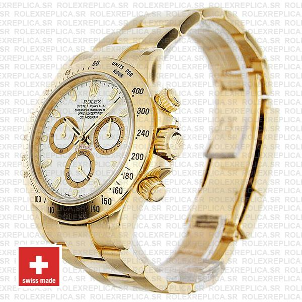 Rolex Cosmograph Daytona 40mm 18k Yellow Gold 904L Stainless Steel with Oyster Bracelet 116528 Rolex Replica Watch