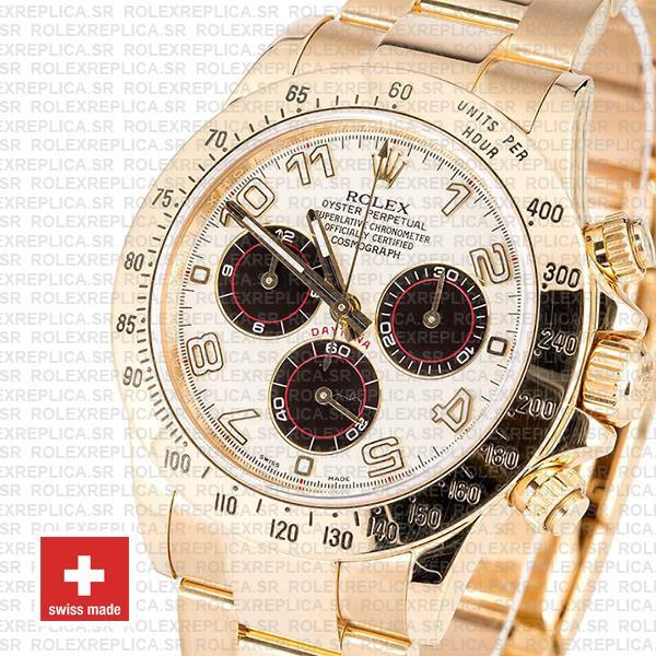 Rolex Daytona 18k Yellow Gold Panda Dial Rolex Replica Watch