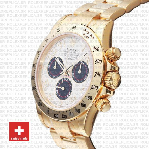 Rolex Cosmograph Daytona Oyster Bracelet 904L Stainless Steel 18k Yellow Gold White Dial with Black Subdials 40mm