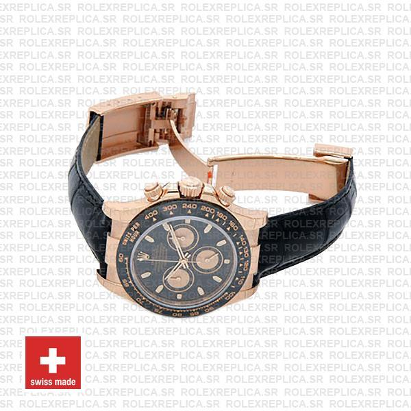 Rolex Daytona Rose Gold Ceramic Bezel Black Dial Replica Watch