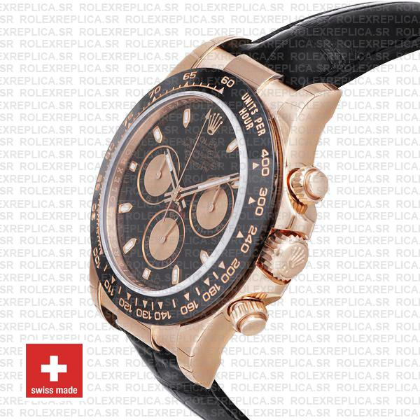 Rolex Daytona Rose Gold Ceramic Bezel Black Dial Swiss Replica Watch