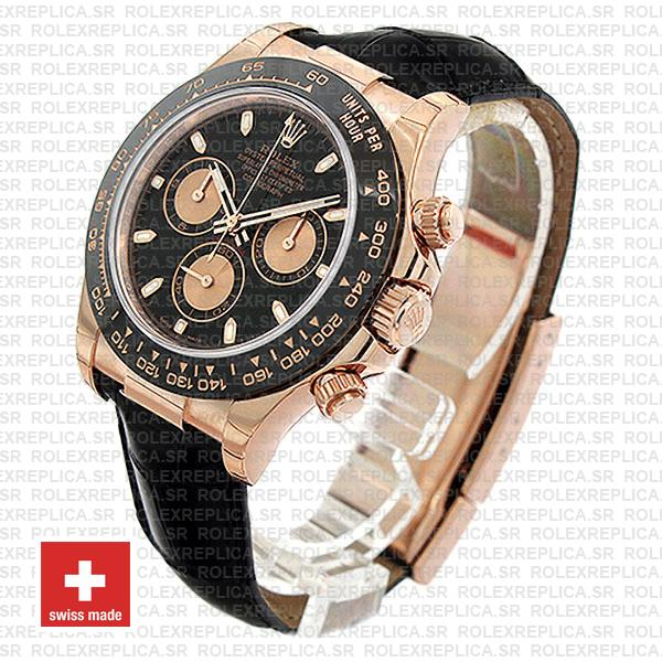Rolex Cosmograph Daytona 18k Rose Gold Black Dial 40mm, comes with Leather Band