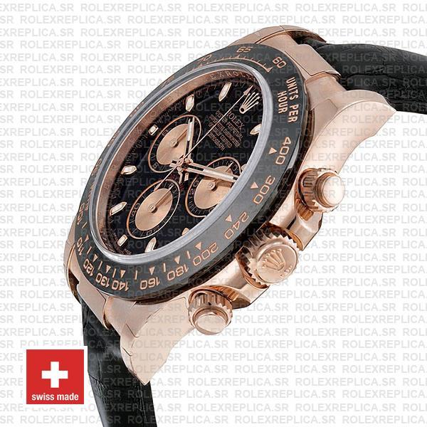 Rolex Daytona Leather Rose Gold Black Pink Ceramic 40mm 116515 Swiss Replica