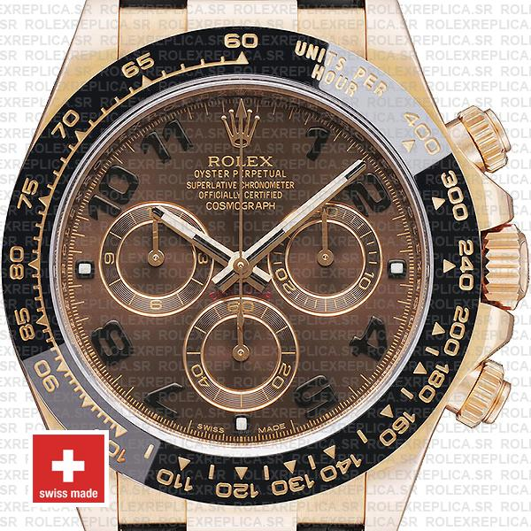 Rolex Cosmograph Daytona 18k Rose Gold Leather Strap, Brown Arabic Dial 40mm