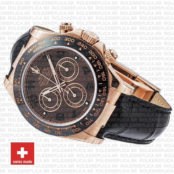 Rolex Daytona Leather Rose Gold Chocolate Arabic Ceramic 40mm 116515