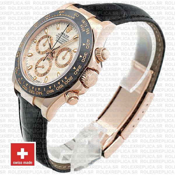 Rolex Daytona Leather Rose Gold Ivory Ceramic 40mm