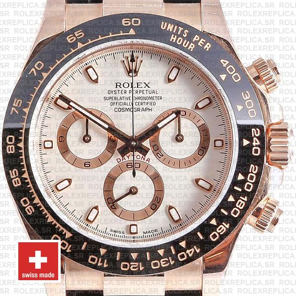 Rolex Daytona Black Ceramic Bezel Rose Gold Replica Watch