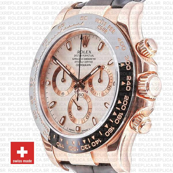 Rolex Daytona 18k Rose Gold 904L Stainless Steel White Ivory Dial 40mm with & Leather Strap