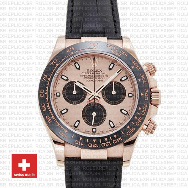 Rolex Daytona Leather Rose Gold Pink Black Ceramic 40mm 116515 Swiss Replica