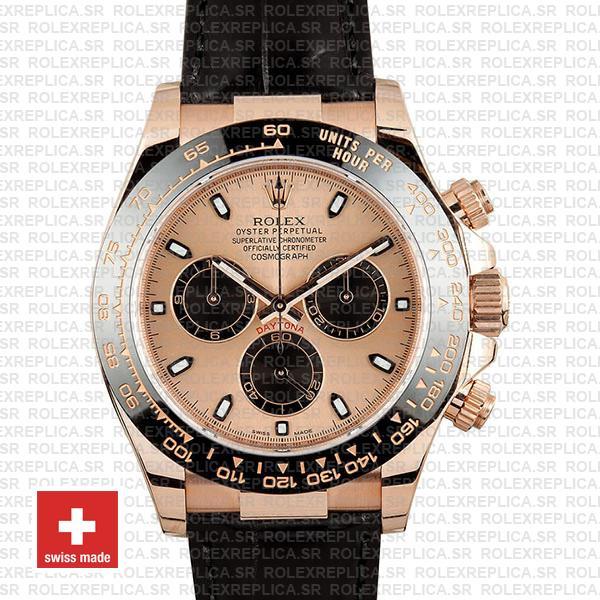 Rolex Daytona Rose Gold Leather Strap | Rolex Replica Watch
