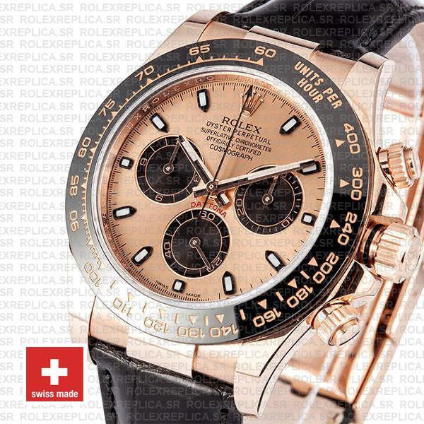 Rolex Daytona Rose Gold Leather Strap Rolex Replica Watch