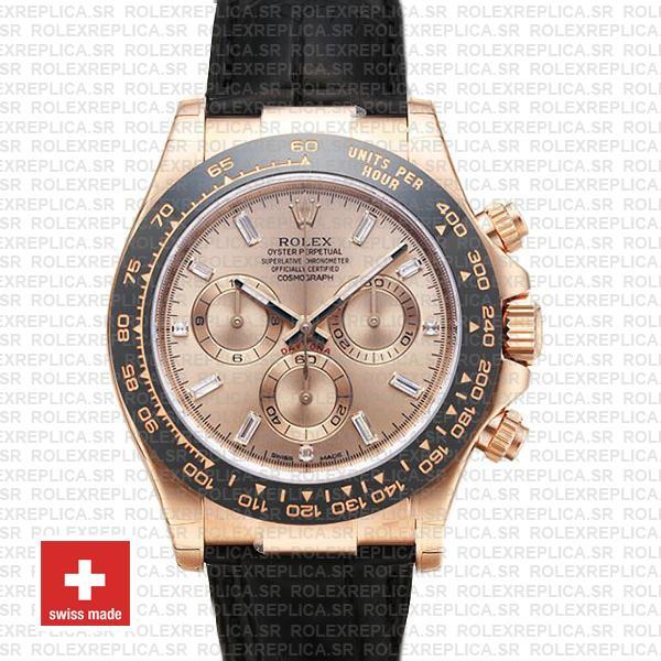 Rolex Daytona Rose Gold Pink Diamond Dial Replica Watch