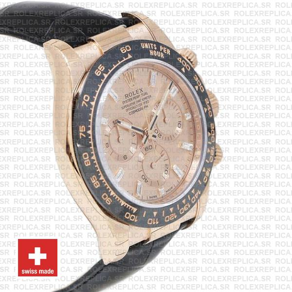 Rolex Daytona Rose Gold Pink Diamond Dial Swiss Replica Watch