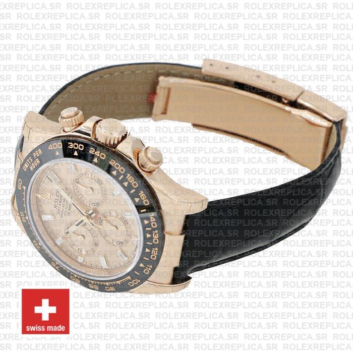 Rolex Cosmograph Daytona Leather Strap 18k Rose Gold 904L Steel Pink Dial