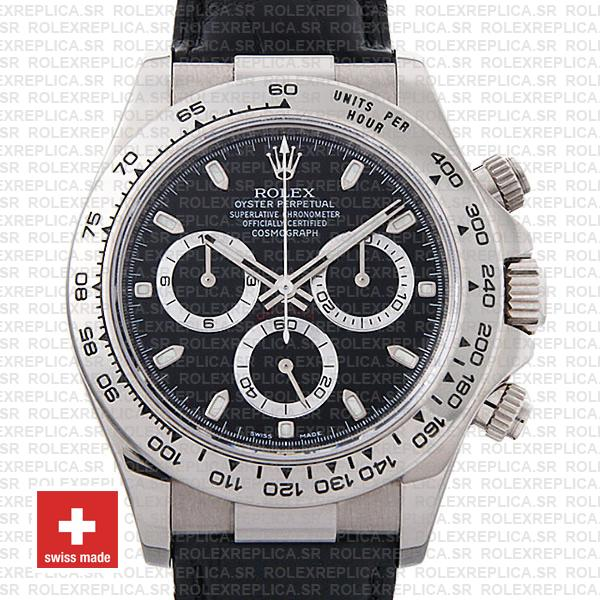 Rolex Daytona in 18k White Gold 40mm, with a Black Dial & a Leather Bracelet
