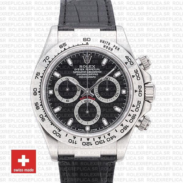 Rolex Daytona White Gold Black Dial | Leather Strap Watch