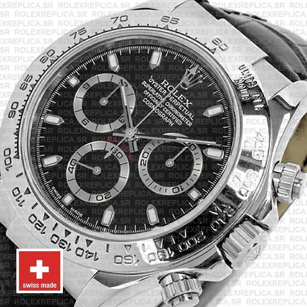 Rolex Daytona White Gold Black Dial Leather Strap Watch
