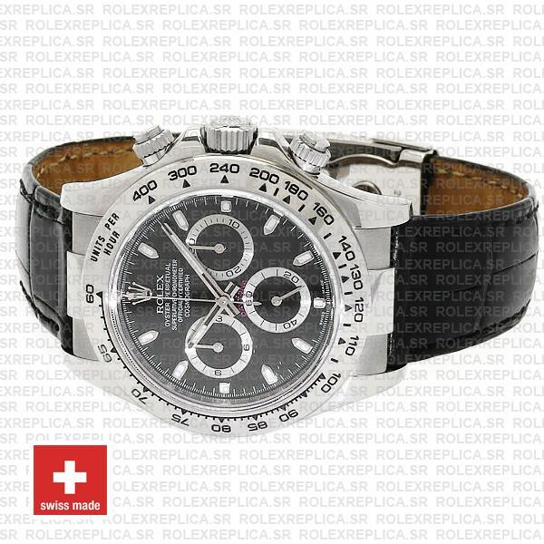 Rolex Daytona White Gold Black Dial Leather Strap Replica Watch