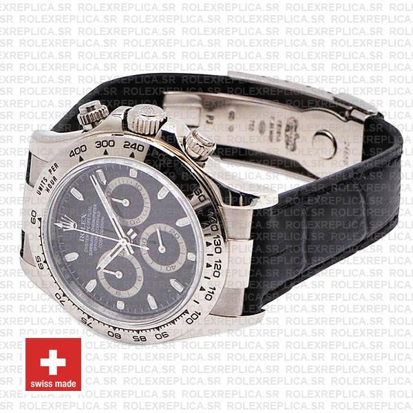 Rolex Daytona White Gold Black Dial Leather Strap Swiss Replica Watch