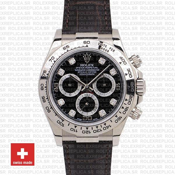 Rolex Daytona Leather White Gold Black Diamond Markers 116519 Swiss Replica 40mm