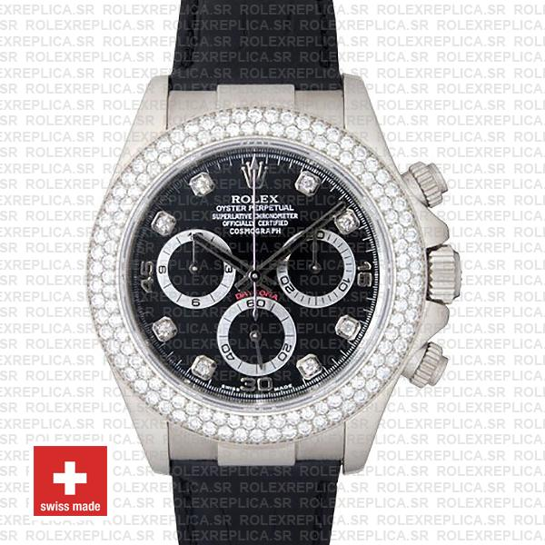 Rolex Daytona White Gold Black Dial Diamond Bezel Replica