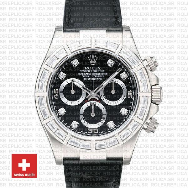 Rolex Daytona White Gold Black Diamond Dial Leather Replica