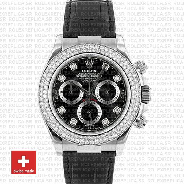 Rolex Cosmograph Daytona Leather Strap 18k White Gold 904L Steel Black Dial Diamond Markers Bezel 40mm